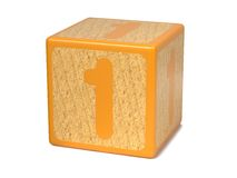 Number 1 - Childrens Alphabet Block. Royalty Free Stock Images