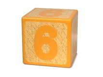 Number 6 - Childrens Alphabet Block. Stock Photos