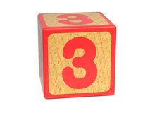 Number 3 - Childrens Alphabet Block. Stock Images