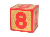 Number 8 - Childrens Alphabet Block. Royalty Free Stock Images