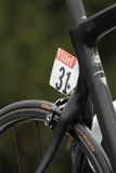 Number on Chris Froomes bike. PAU, FRANCE, July 15, 2015 : Numbers on the runners bikes in the Village Depart of the Tour de France cyclist race Stock Photo