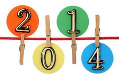Number 2014 on a clothesline Royalty Free Stock Photos