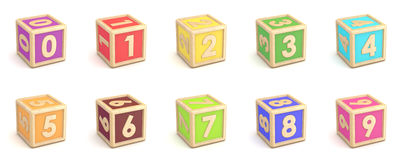 Number collection wooden alphabet blocks font rotated. 3D Stock Image