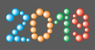 Number 2019 from colored Balls on the black Background. Number 2019 from the colored Balls on the black Background Stock Images