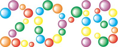 Number 2019 from colored Balls isolated on the white Background. Number 2019 from the colored Balls isolated on the white Background Royalty Free Stock Image