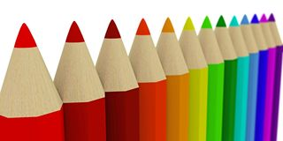 A number of colored pencils receding into the distance Stock Image
