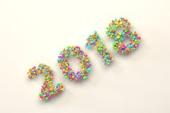 2018 number from colorful balls on white background. 2018 number from colorful balls on blwhite ack background. 2018 new year sign. 3D rendering illustration Stock Photo