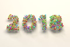 2018 number from colorful balls on white background. 2018 number from colorful balls on blwhite ack background. 2018 new year sign. 3D rendering illustration Royalty Free Stock Image
