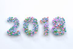 2018 number from colorful balls on white background. 2018 number from colorful balls on blwhite ack background. 2018 new year sign. 3D rendering illustration Royalty Free Stock Photos