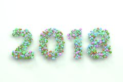 2018 number from colorful balls on white background. 2018 number from colorful balls on blwhite ack background. 2018 new year sign. 3D rendering illustration Stock Images