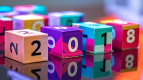 A Number On Colorful Cube stock image