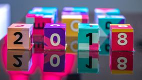 A Number On Colorful Cube stock images
