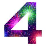 Number of colorful firework, four. Mathematical sign, number four, stylized colorful holiday firework with stars and flares, element for web design. Eps10 Royalty Free Stock Image