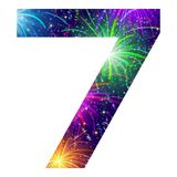 Number of colorful firework, seven. Mathematical sign, number seven, stylized colorful holiday firework with stars and flares, element for web design. Eps10 Stock Images