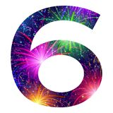 Number of colorful firework, six. Mathematical sign, number six, stylized colorful holiday firework with stars and flares, element for web design. Eps10 Royalty Free Stock Images