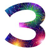 Number of colorful firework, three. Mathematical sign, number three, stylized colorful holiday firework with stars and flares, element for web design. Eps10 Stock Image