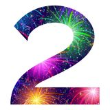 Number of colorful firework, two. Mathematical sign, number two, stylized colorful holiday firework with stars and flares, element for web design. Eps10 Stock Images