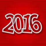 Number 2016.Colorful 2016 new year greeting. On a red background Stock Image