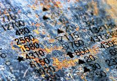 Number Columns on Rust Texture Stock Images
