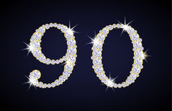Number 9 and 0 composed from diamonds with golden Royalty Free Stock Images