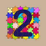 Number 2 is composed of pieces of color puzzles. Number 2 is composed of pieces of multi-colored puzzles stock illustration