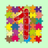 Number 1 is composed of pieces of color puzzles. Number 1 is composed of pieces of multi-colored puzzles stock illustration