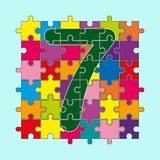 Number 7 is composed of pieces of color puzzles. Number 7 is composed of pieces of multi-colored puzzles stock illustration