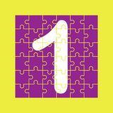 Number 1 is composed of pieces of color puzzles. Number 1 is written on the fragments of color puzzles royalty free illustration