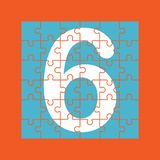Number 6 is composed of pieces of color puzzles. Number 6 is written on the fragments of color puzzles vector illustration