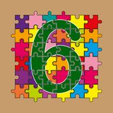 Number 6 is composed of pieces of color puzzles. Number 6 is composed of pieces of multi-colored puzzles stock illustration