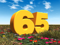 The Number 65. Computer generated 3D illustration with the Number 65 in a landscape Stock Photo