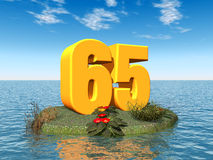 The Number 65. Computer generated 3D illustration with the Number 65 in an ocean landscape Royalty Free Stock Image