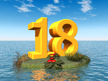 The Number 18 Stock Photo