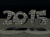 2015 Number. Computer-generated 3d image of the number 2015. Metallic texture on the number. Metallic ground with 2 lights spot reflections Royalty Free Stock Image