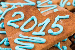 2015 number on cookie Royalty Free Stock Images