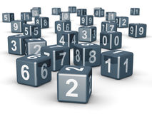 Number cube dice placing randomly. 3d illustration Stock Photo