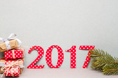 Number 2017 cut of wraping paper Royalty Free Stock Photos