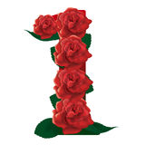Number 1 cute roses floral illustration Stock Images