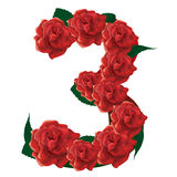 Number 3 cute roses floral illustration Stock Photo