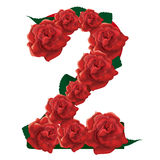 Number 2 cute roses floral illustration Stock Photography