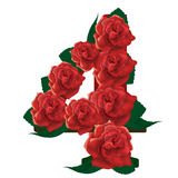 Number 4 cute roses floral illustration Stock Images