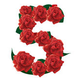 Number 5 cute roses floral illustration Royalty Free Stock Images