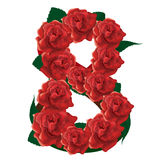 Number 8 cute roses floral illustration Stock Images
