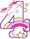 Number 4 with cute unicorn royalty free illustration