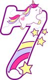 Number 7 with cute unicorn and rainbow