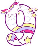 Number 9 with cute unicorn and rainbow stock illustration
