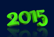 Number 2015 in 3D on blue background Royalty Free Stock Image