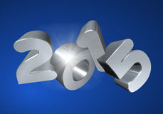 Number 2015 in 3D on blue background. Silver number 2015 in 3D on b bacluekground - New Year - Christmas Card Royalty Free Stock Photography