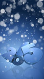 Number 2015 in 3D on blue background with snowflakes. New Year - Christmas Card Royalty Free Stock Images