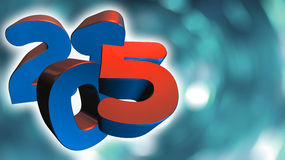 Number 2015 in 3D on blue gray background Stock Photography